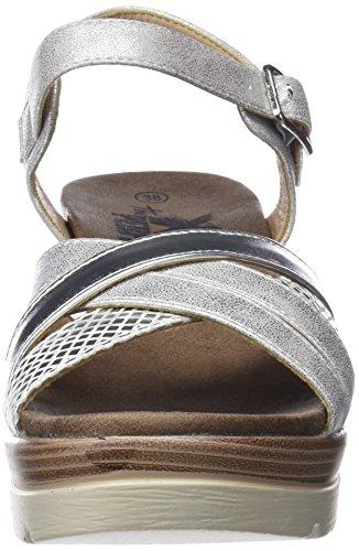 XTI Damen 47939 Knöchelriemchen Sandalen Silber (Platinium)