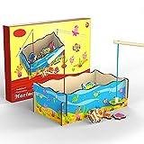 Buyger Holz Magnetisches Angeln Spielzeug mit Angelruten Fisch und Pool Pretend Playset für Kleinkinder Kinder