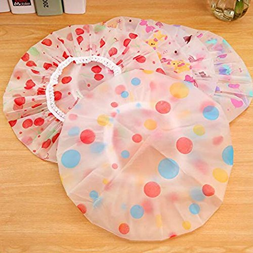 5 Pieces Reusable Waterproof EVA Plastic Lace Elastic Band Flower Printed Hat Environmental Protection Hair Bath Caps Shower Caps