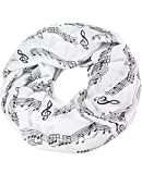 Caripe Damen Loop Schal Schlauchschal Musik Noten Notenschlüssel (weiß)