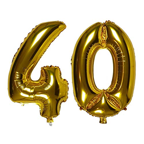 DIWULI, XXL Zahlen-Ballons, Zahl 40, goldene Luftballons, Zahlenluftballons Gold, Folien-Luftballons Nummer Nr Jahre, Folien-Ballons 40. Geburtstag, Hochzeit, Party, Dekoration, Geschenk-Deko
