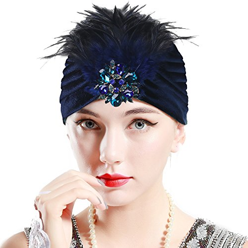 ArtiDeco Damen Turban Hut mit abnehmbarer Kristall Brosche 1920s Retro Feder Turban Hut Gatsby Accessoires ()