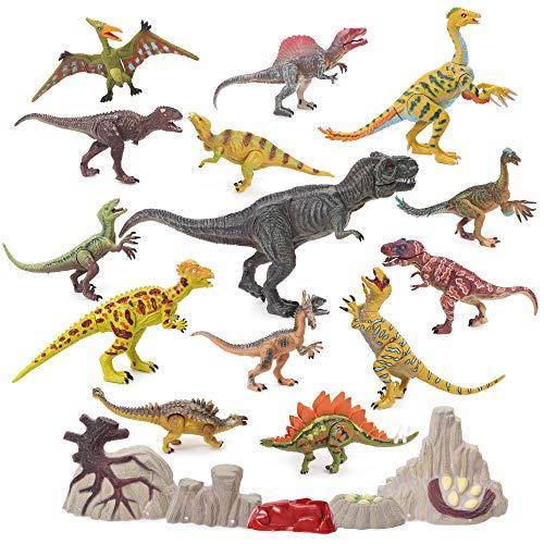 Dinosaurier & prähistorische Kreaturen für Kinder Set mit 20 realistisch aussehenden Dinosauriern Figuren - Lebendige Farben - Bewegliche Backen & Gelenke - Stein & Eier Requisiten Inklusive