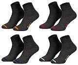 Piarini 8 Paar kurze Socken Kurzsocken Quarter Socken für Damen Herren Kinder - dünn, ohne Gummibund - anthrazit mit Neonspitze 43-46