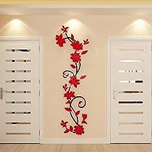 Tongshi DIY 3D acrílico cristal Wall Stickers salón dormitorio TV fondo Inicio (Rojo)