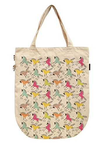Vietsbay , Damen Tote-Tasche beige Unicorn Patterns Colorful Horses