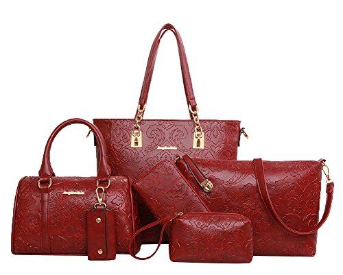 SaiDeng Femmes Vendange Couleur Pure Motif Fleur 6 Pcs Set Vin Rouge