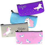 Unicorn Pencil Case - 4 Pack High Capacity Cute Pencil Pouch Holder School