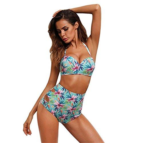 Damenmode Bademode Bikini für Frauen Mädchen Badeanzug JYJMDamen Bademode Bikini Bandage Print Quaste Push-Up gepolsterter Bügel Bedruckte Bikinisuit FarbeNeckholder-Neckholder-Set (L, Grün) (1 Badeanzug Pc Polka Dot)