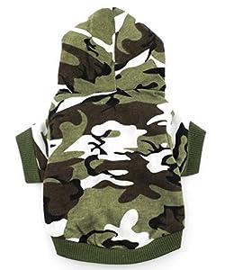 smalllee _ LUCKY _ ranger de petits vêtements pour chien à capuche pour garçon Motif camouflage pour homme, vert