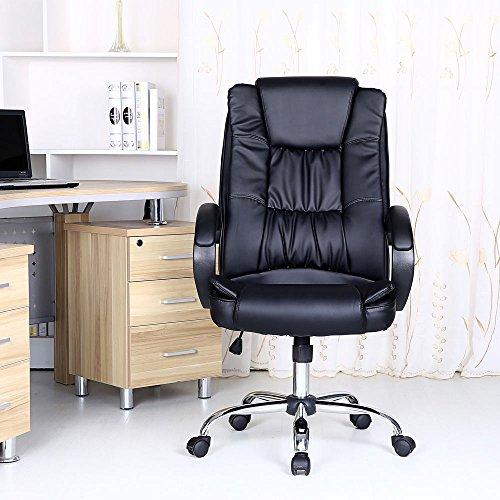 SANTANA BLACK HIGH BACK EXECUTIVE OFFICE CHAIR LEATHER SWIVEL, RECLINE, ROCKER COMPUTER DESK FURNITURE