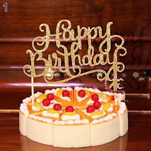 satz Happy Birthday Party Dekoration für Kinder Geburtstag Party Gastgeschenke Hochzeit Party Festival Jahrestag Andenken Baby Dusche Ornamente Geschenk gold ()