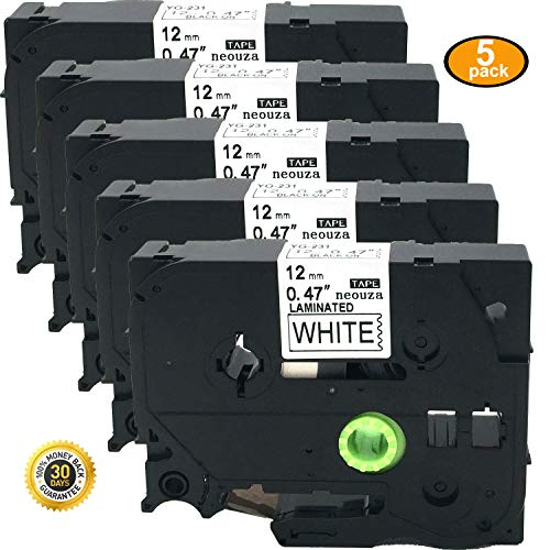 5PK Great Quality Compatible For Brother P-Touch Laminated Tze Tz Label Tape Cartridge 12mmx8m (TZe-231 Black on White) by NEOUZA
