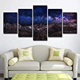 SUNSUNNY Canvas Prints, Wall Art Prints on Canvas Starry Sky Printing Picture Picture Modern Split 5 Pieces HD Artwork for Living Room Bedroom Home Office Decorations (Frameless),M