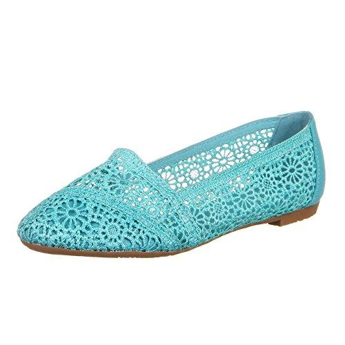 Damen Schuhe, 1002-BL, BALLERINAS Blau