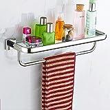 MoMo Badezimmer-Regal / 304 Edelstahl-ausgeglichenes Glas-Regal/an der Wand befestigtes Duschregal/Badezimmer-Regal mit einzelner Schiene,53 cm