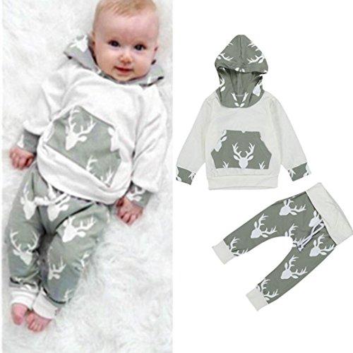 Culater® Bambino Bambini neonati Deer cappuccio Top Pantaloni Giacca Outfits Set (100)