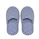 VGEBY 1 Paio Pantofole Pieghevoli Antiscivolo con Sacchetto di Stoccaggio per Casa Volo Albergo Interno ( Colore : Gray Stripes for Women )