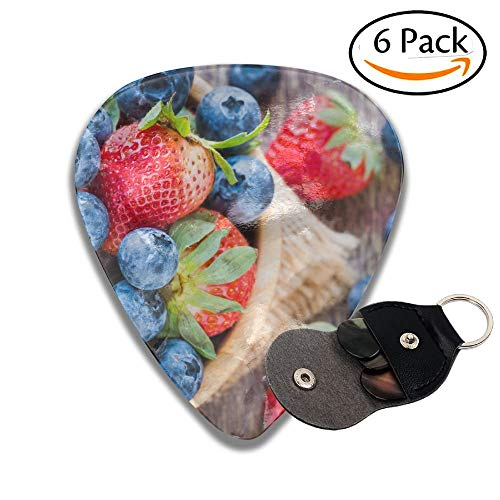Blueberries And Strawberry In Wooden Bowl On Wooden Table Background Stylish Celluloid Guitar Picks Plectrums For Guitar Bass 6 Pack.71mm -