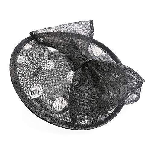 HFJ&YIE&H Faszinator Hut Schwarz Wellenpunkt Net Mesh Kentucky Derby Tee-Party Kopfbedeckung mit Haarspange und Haarband für Frauen oder Mädchen (Schwarzen Hut Net)