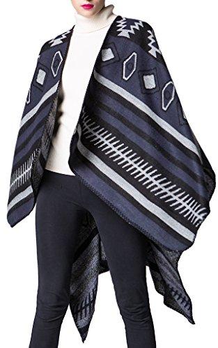Mochoose Poncho et Cape Tricot Châle Plaid Écharpe Couverture Wrap Tartan Chaude Hiver pour Femme Bleu Marine