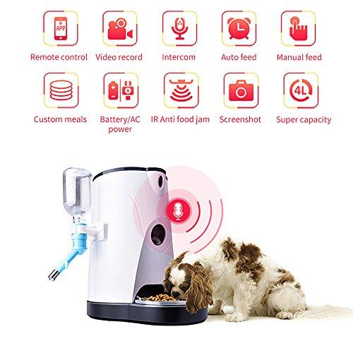 Alimentador Mascotas Automático Inteligente Dispensador Agua Y Comida Con Cámara Wifi HD En Tiempo Real Para Perros Y Gatos,Voz Bidireccional,Temporizador Programable Para Aplicación Teléfono Móvil
