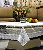 #8: Kuber Industries PVC Table Cover - 3D Transparent, Silver Lace, 4 Seater