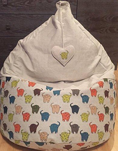 Sitzsack für Kinder Leinen Bezug Elefanten Muster Natürliche Stoffe Farbige Bodenkissen Sitzkissen Zoo Tiere Kinderzimmer Möbel Herz Dekor Mit Innenbezug OHNE FÜLLUNG -