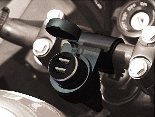 BC Battery Controller 710-P12USBDUAL - Presa accendisigari 12V a tenuta stagna con supporto universale per manubrio moto (22,2 / 25,4 / 28,6 mm) + Adattatore/Caricabatteria doppio USB 5V 2,1A+1A estraibile - Lunghezza: 145 cm - Made in Italy