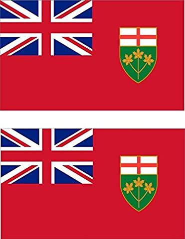 2 x Autocollant sticker voiture pc vinyl macbook drapeau canada canadien ontario