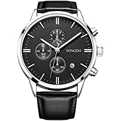 SONGDU Men's Big Face Multi-function Chronograph Quartz Watch With Alloy Watch Case Black Pin Buckle Leather Strap
