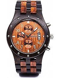 Reloj de cuarzo analógico FECHA pantalla Dual reloj madera reloj para hombre de negocios