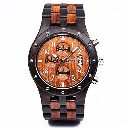 BEWELL Reloj De Madera Natural Estilo Vintage Movimiento De Cuarzo Japonés Reloj...