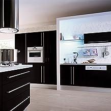 1er Top mueble de cocina de calidad engomada del PVC auto rollos de papel pintado adhesivo para Muebles / Cocina / Baño 0.61 * 5M pegatinas hoja de guarnición / Papel de pared del gabinete de la puerta, Negro