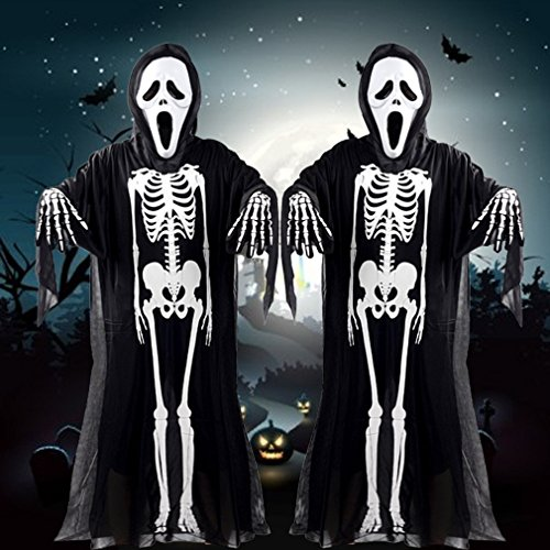 Devil Black Halloween Kostüm - 1997LM Schädel Skelett Ghost Cosplay Kostüm Halloween Kostüm + Devil Mask + Handschuhe Black & White