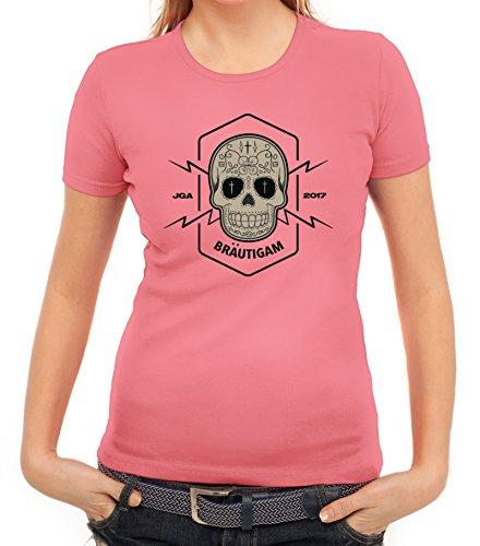 Junggesellenabschieds JGA Hochzeit Damen T-Shirt Skull Bräutigam Rosa