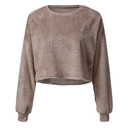 MIRRAY Damen Langarmshirt Flauschiger Pullover aus Künstlich Fleece Hoodie Cropped Tops Bluse Fleece-cropped Pullover