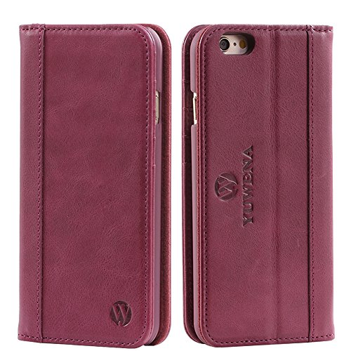 iPhone 6 plus case,iPhone 6s plus case,Handmade Wallet Case,Genuine Leather Case,Flip Folio Book Cover with Stand Function,Card Slots,Magnetic Closure Yellow Purple