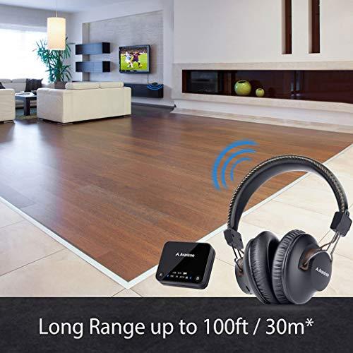 2018 Avantree HT4189 Kabellose Kopfhörer für Fernseher mit Bluetooth Transmitter, Unterstützt Optisch, RCA, 3.5mm AUX, PC USB Audio, Plug & Play, No Delay, 30m HOHE REICHWEITE 40 Std. Akku - 5