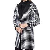 tohole Damen Revers Colorblock Mantel Hahnentritt Wolle Elegant Wolljacke Lange Herbst Winter Warm Windbreaker Vintage Mantel Slim Parka Outwear Locker Jacke Strickjacke Overcoat