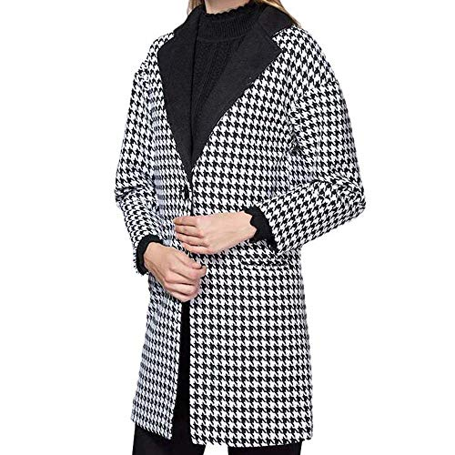 Berrose-Frau Revers Farbabstimmung Mantel Hahnentritt Behaart Mantel-Damen Colorblock Wollmantel Fashion Winter Plaid-Frauen Casual Langarm Gestreifte Strickjacken Patchwork Outwear