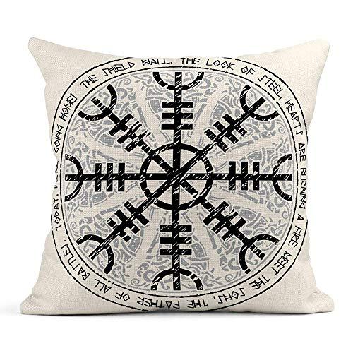 vikkk Dekokissenbezug Print Helm of Awe Terror isländische magische Dauben skandinavischen Muster Aegishjalmur Kissenbezug einseitig Design Home Sofa Decor45x45 cm -