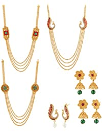 Apara Combo Of Multistrand Necklace Set With Peacock Jalebi & Checkers Design For Women