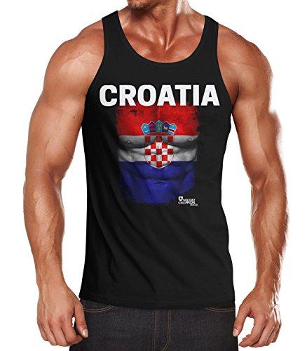 EM Tanktop Herren Fußball Kroatien Croatia Flagge Fanshirt Waschbrettbauch Muskelshirt MoonWorks® schwarz L (Kroatien-fußball-t-shirt)
