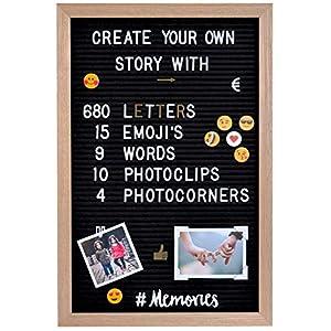 Gadgy® Filz Letter Board | Mit 15 Emojis, 10 Fotoclips, 4 Fotoecken, 340 golden & 340 weiße Buchstaben l 45x30 cm