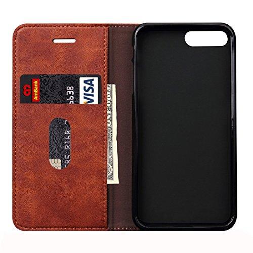 Hülle für iPhone 7 plus , Schutzhülle Für iPhone 7 Plus Retro Verrückte Pferd Textur Magnetische Adsorption Horizontale Flip Leder Tasche mit Card Slot & Holder & Wallet ,hülle für iPhone 7 plus , cas Brown