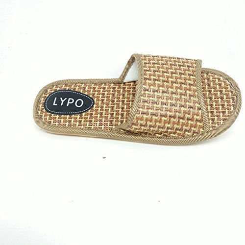 LEPAKSHI brown, 6.5 : 2017 summer house slippers bamboo leisure pantufas adulto man and women solid home indoor pantuflas cane antiskid