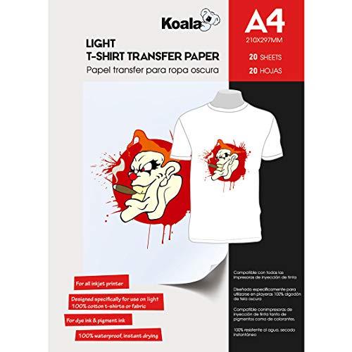 KOALA Inkjet Iron-On T-Shirt Transfer Paper for Light Fabrics