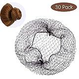 30 Stück Haarnetze, Unsichtbare Haarnetz Schwarz Weiß Braun Haar Netze Dutt Haarnetz für Ballett Tanz Stewardess Chefkoch Krankenschwester