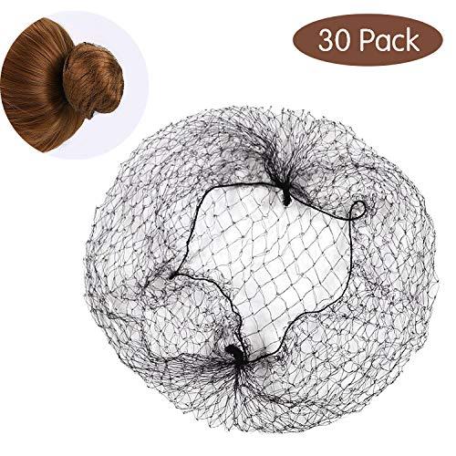 30 Stück Haarnetze, Unsichtbare Haarnetz Schwarz Weiß Braun Haar Netze Dutt Haarnetz für Ballett Tanz Stewardess Chefkoch Krankenschwester (Haarnetze Tanz)